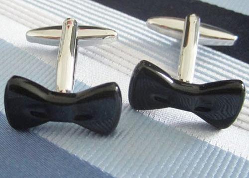 mancuernillas moño negro camisa traje acero 196