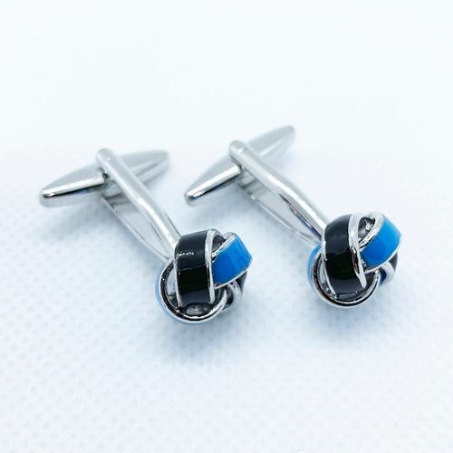 mancuernillas nudo negro y azul gemelos de acero para hombre