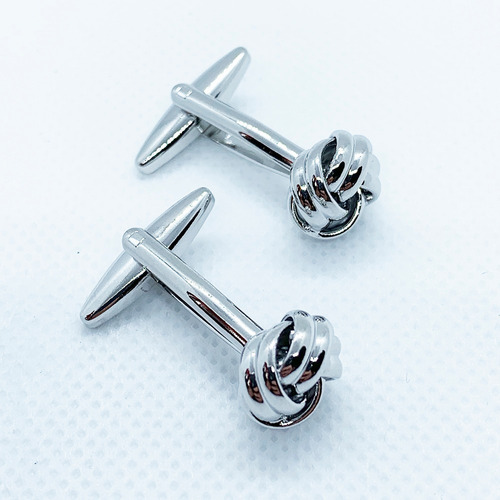 mancuernillas nudo plata gemelos de acero para hombre moda