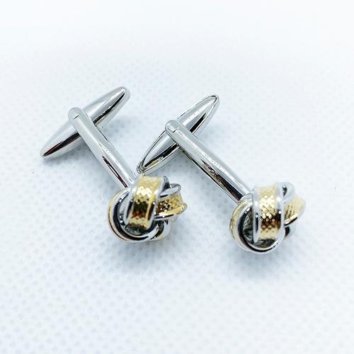 mancuernillas nudo plata/dorado gemelos de acero para hombre