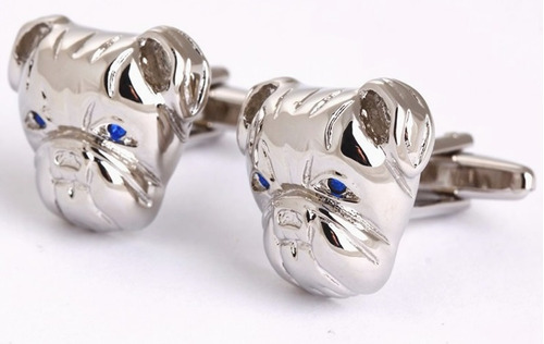 mancuernillas perro plateado acero con cristal azul e-477