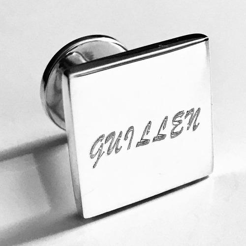 mancuernillas personalizadas en plata 925 grabado diamante