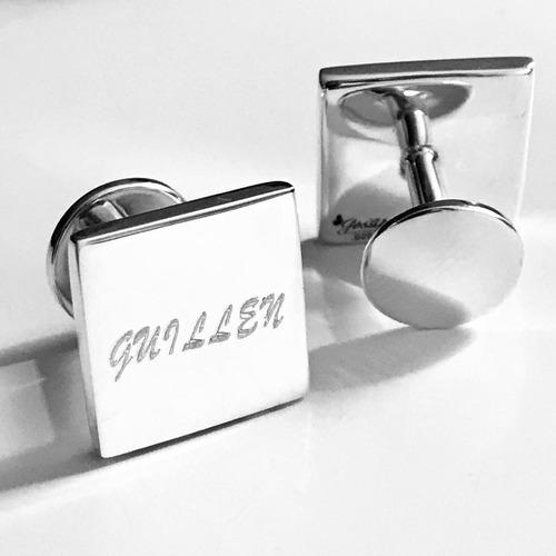 mancuernillas personalizadas plata 925 rectangular grabadas