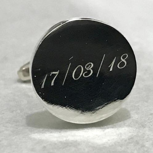 mancuernillas redondas plata 925 personalizada grabado laser