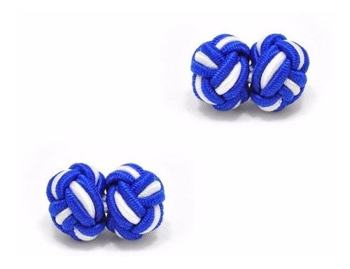 mancuernillas thot ra nudo seda formal azul blanco f-211