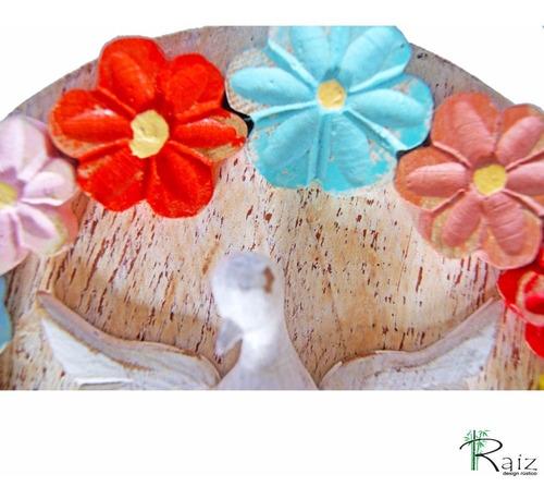 mandala divino espírito santo flor madeira 20cm