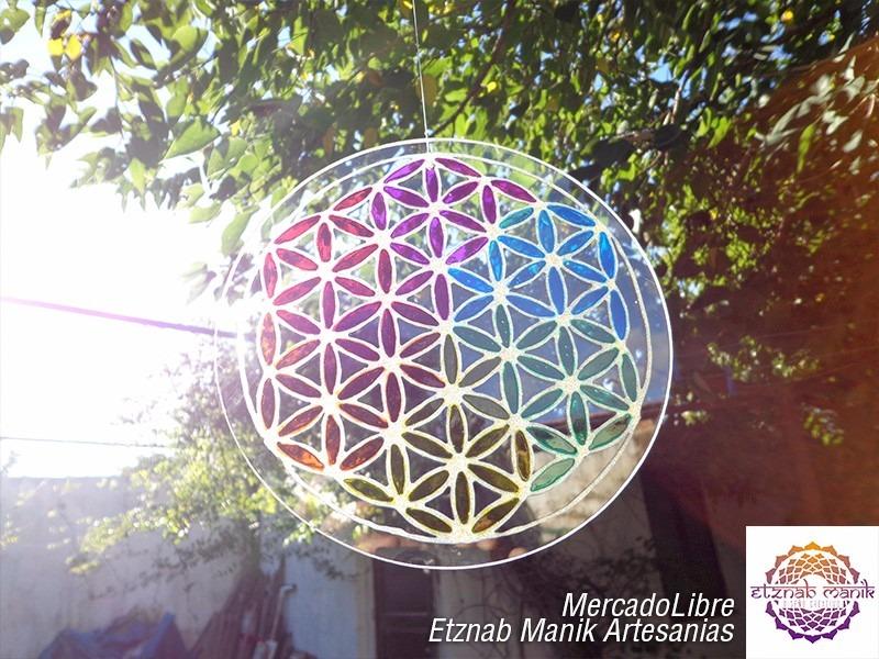Mandala En Vidrio Flor De La Vida Colgante Movil Vitral 50000