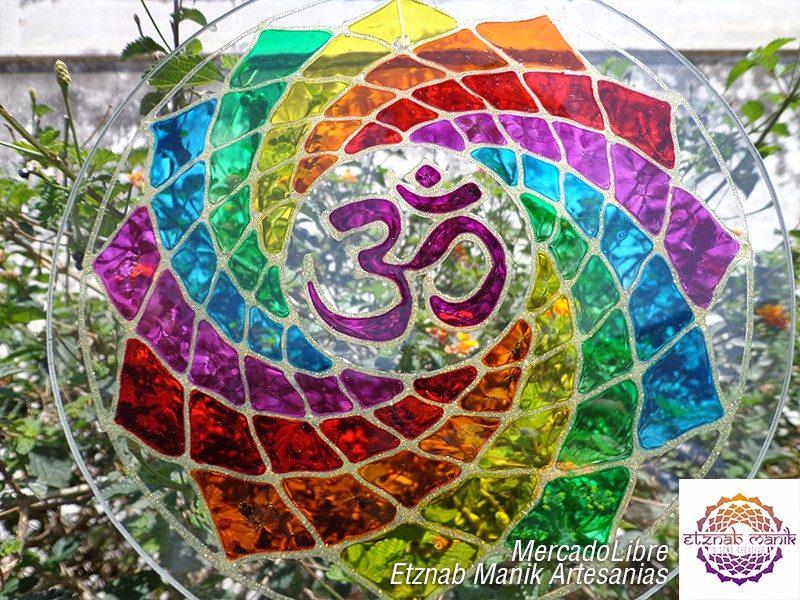Mandala Om Multicolor 20cm Colores De Los 7 Chakras 55000 En