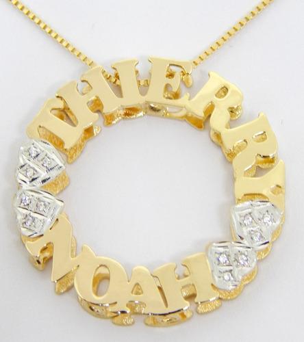 mandala personalizada com corrente banhada a ouro semijoia