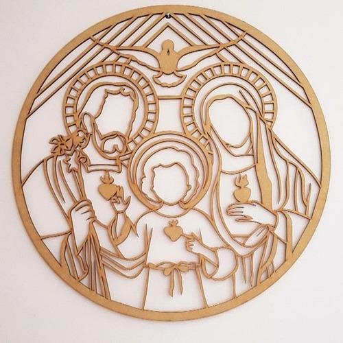 mandala sagrada familia em mdf com 50cm