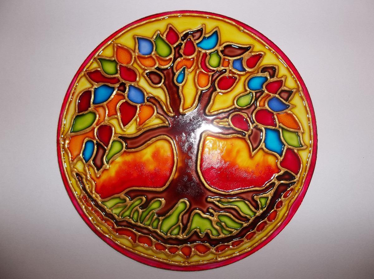 Mandalas en vidrio pintados a mano artesanales 330 - Reloj pintado en la pared ...