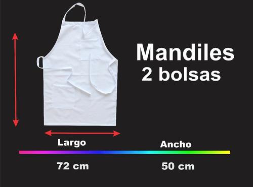 mandil 2 bolsas para sublimar 100% poliéster