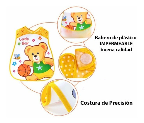 mandil babero alimentación, impermeable, súper práctico