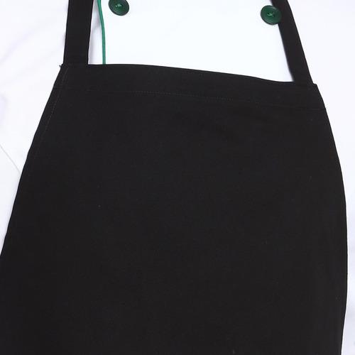 mandil o delantal basico para chef o mesero con peto negro