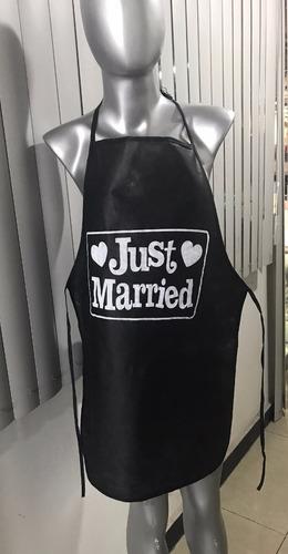 mandil para boda publicitario   negro tela ecologica