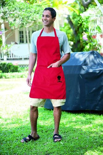 mandil parrillero rojo weber style carne asada delantal