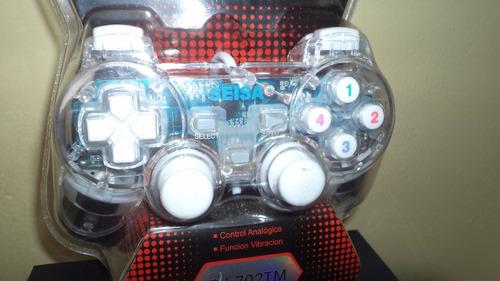 mando usb tipo play para computadora luces y vibración 100%