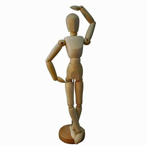 manequim articulado 30cm feminino em madeira sinoart