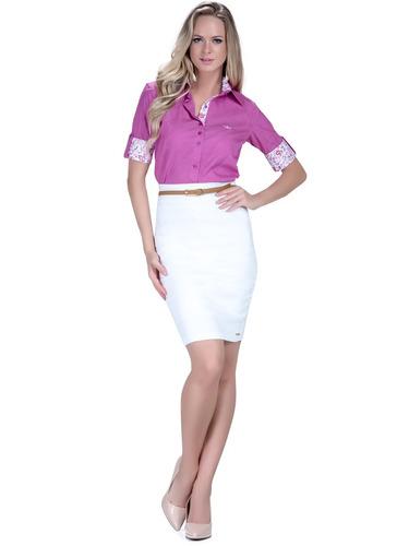 983a54171f manga curta camisa. Carregando zoom... camisa feminina manga curta 3 4  violeta principessa marie