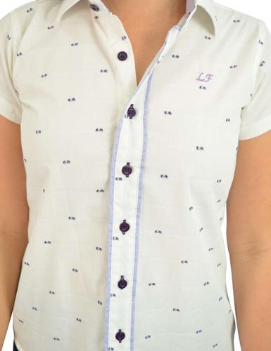 62087dfd80 Camisa Social Manga Curta Branco E Lilas - Oferta - R  117