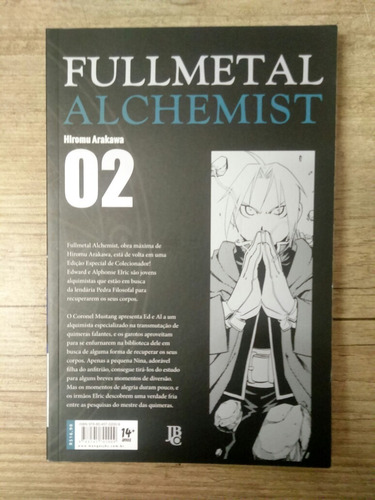 mangá  fullmetal alchemist #2  nova edição jbc