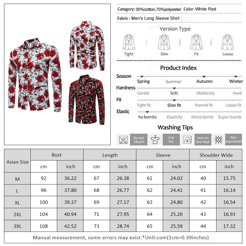 9248743629892 Camisa Floral De Manga Larga Con Flores Para Hombres -   451.61 en ...