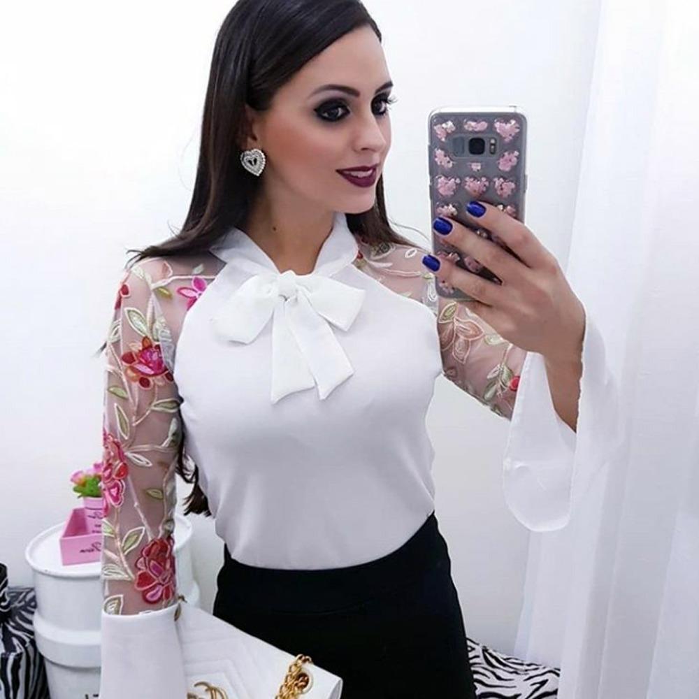 9f95d6acad Blusa Social Feminina Manga Longa Comprida Telinha Tule Moda - R  59 ...