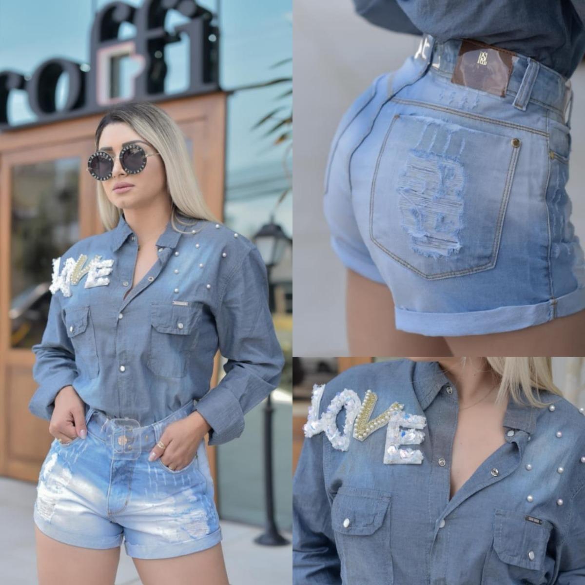 036e0574a9 Blusa Camisa Feminina Jeans Manga Longa Pedras Bordada - R  169