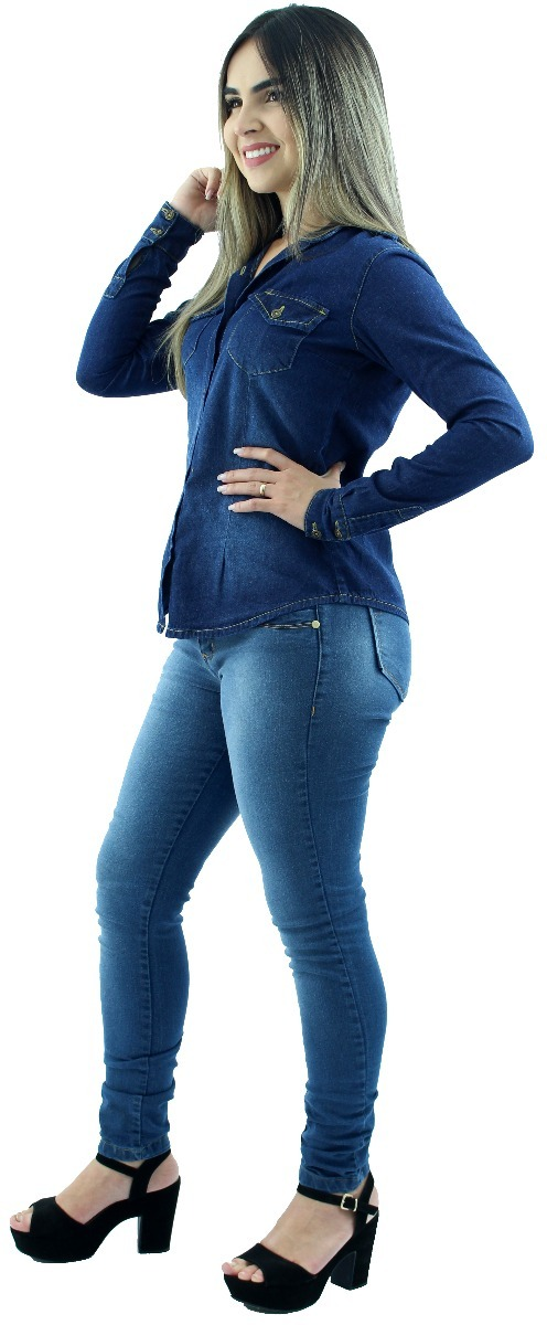 91886027c manga longa camisa casual. Carregando zoom... camisa jeans feminina casual  social ...