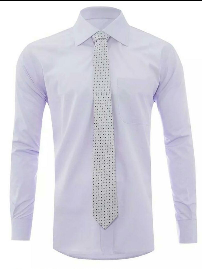 65e23c8789 Camisa Social Masculina Slim Fit Manga Longa Branca E Lilas - R  120 ...