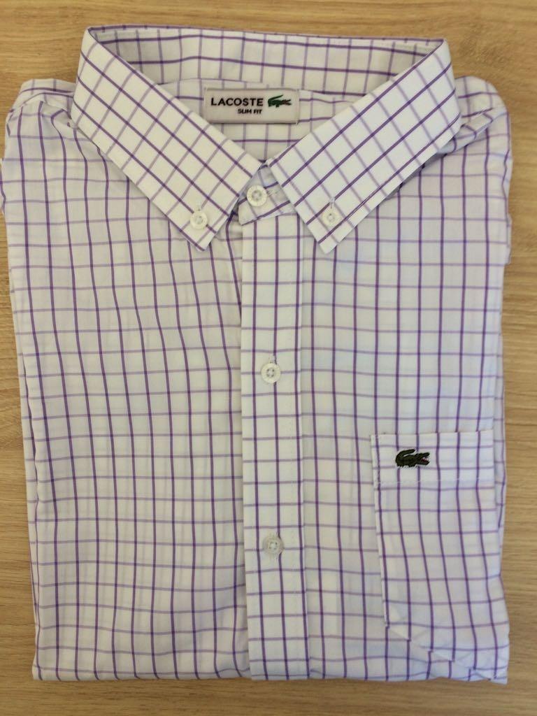 52a7b58a1df Camisa Social Lacoste Manga Longa Xadrez - R  287