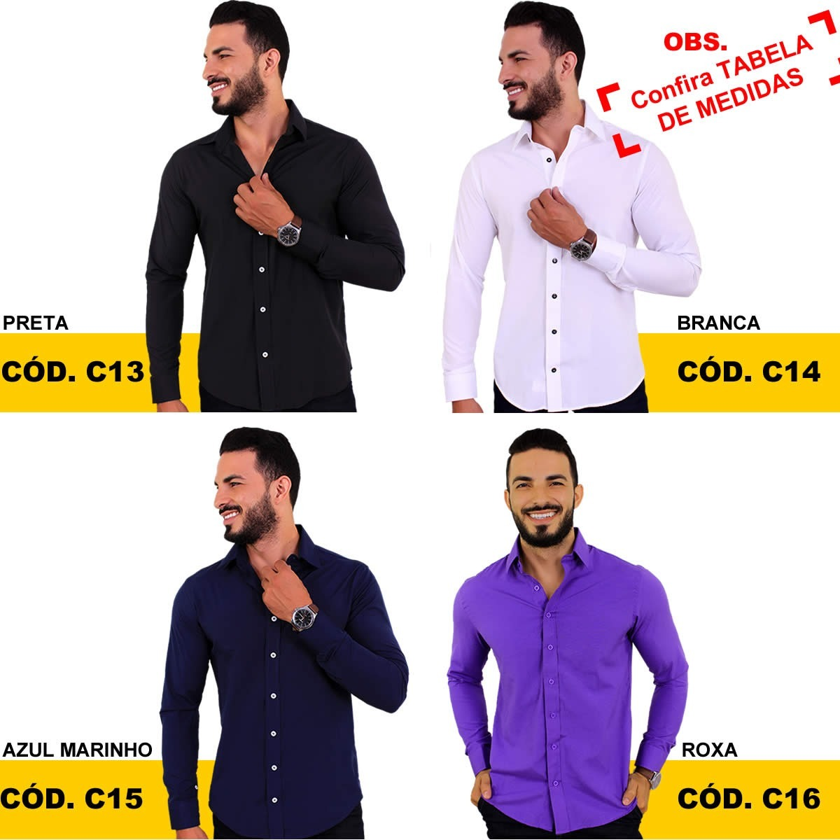 ef00263429 Kit 4 Camisas Social Masculina Manga Longa Slim Blusa Barata - R ...