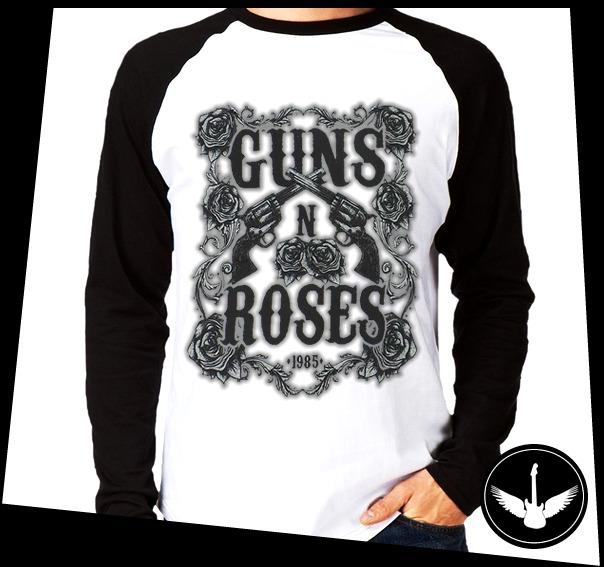 Manga Longa Guns N Roses Banda Hard Rock Camisa Comprida Ros - R  59 ... 3709484b58f