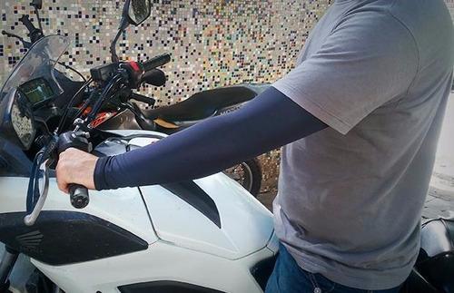 manga proteção sol uva uvb bike treino moto masculino marrom