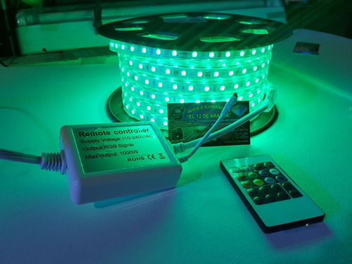 mangera led rgb multicolor con control 25mts.