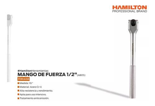 mango de fuerza hamilton encastre 1/2 acero 250mm + envio