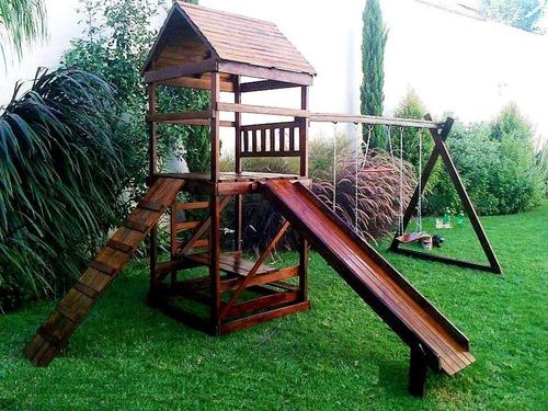 mangrullo de madera con tobogan y hamacas para chicos