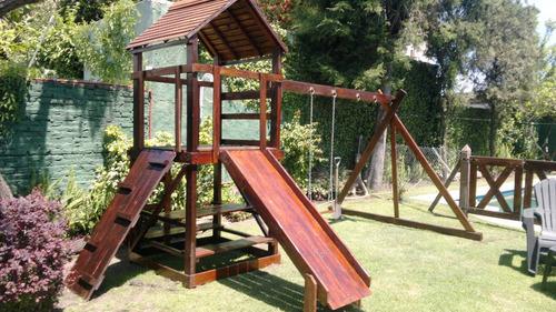 mangrullos c/ toboganes y hamacas - juegos en madera -