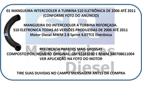 mangueira intercooler s-10 mwm 2.8 eletronica 93383280 s10