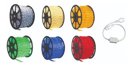 mangueira luminosa led decoração 100 metros branco frio/quente/azul/vermelho/verde/ambar 220v + 5 conectores natal arvor