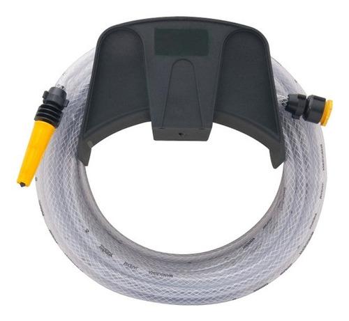 mangueira pvc trançada 20m+conector+esguicho+suporte
