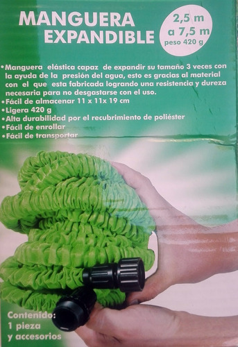 manguera expandible de 2.5 a 7. mts con pistola envío gratis