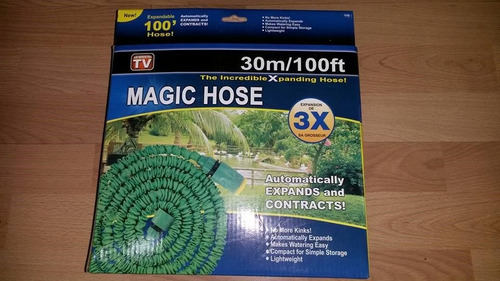 manguera magic hose de 30 metros. expandible 3x con pistola