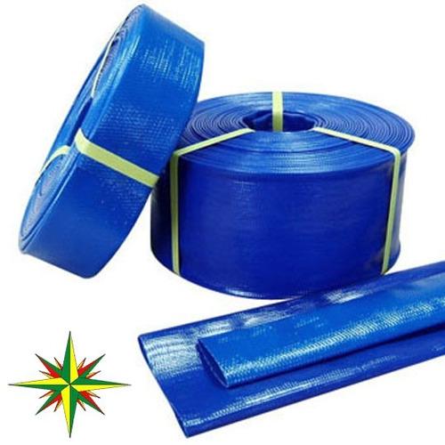manguera manga plana pvc desagote azul 3/4 19mm 25mts