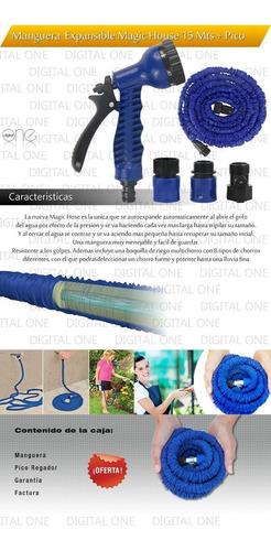 manguera plana expandible magic hose 15mts + pico regador ,