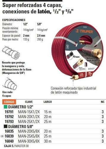 manguera reforzada 4 capas 1/2'' 20 metros truper 19792 envio inmediato!!