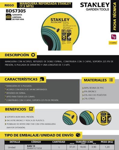 manguera riego stanley 7,5m bds7305 1/2 acople 3/4 reforzada