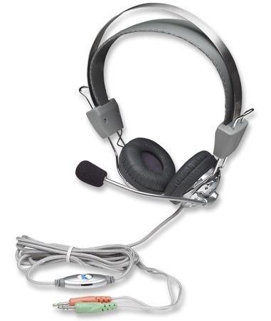 manhattan 175555 audífono micrófono, control de volumen