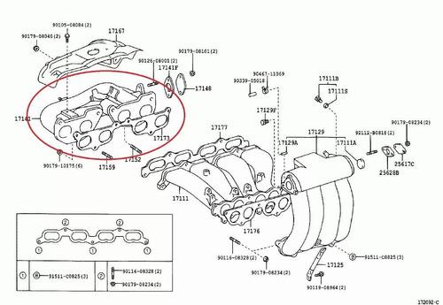 manifold de escape hilux toyota original 17141-75080