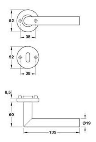 manija hafele doble balancin acero modelo hl01 903.91.556